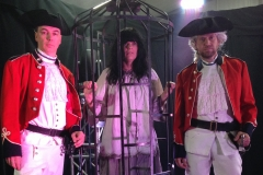 Personnage La Corriveau et soldats anglais